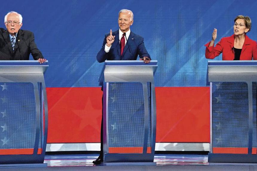 Bernie Sanders, Joe Biden et Elizabeth Warren, lors du troisième débat de la primaire démocrate., m. blake/reuters