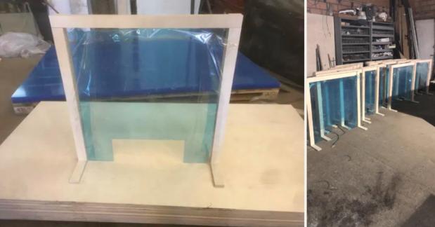 Schrijnwerker uit Ploegsteert maakt schermen van plexiglas als bescherming tegen coronavirus