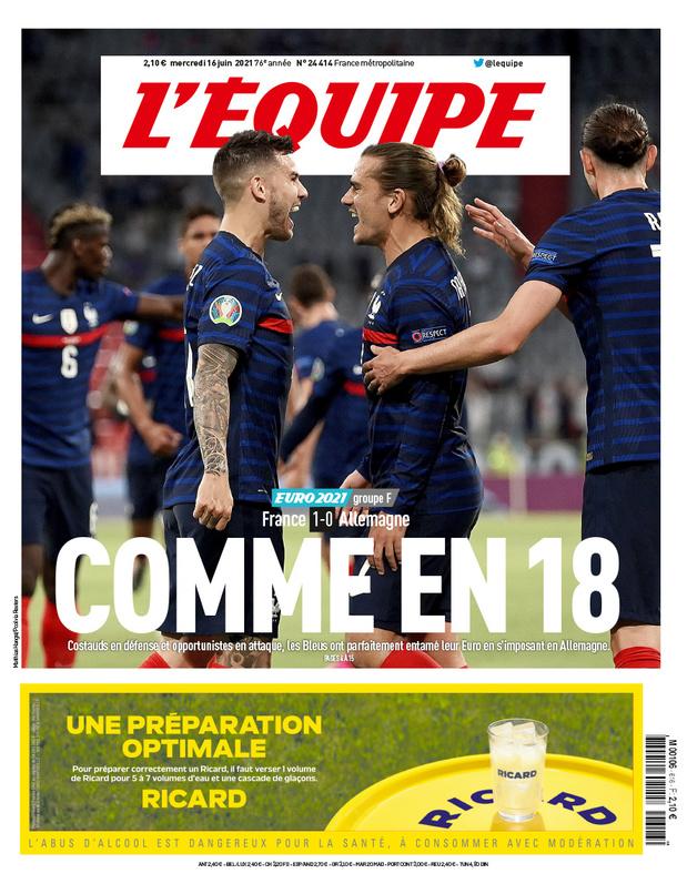 """Euro 2020: la """"une"""" française qui fâche sur la guerre de 18 et des fascistes hongrois en tribune (chronique)"""