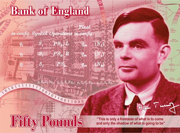 L'effigie du pionnier en informatique Alan Turing sur le billet de 50 livres