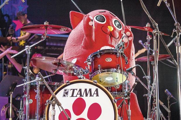 Waarom de Japanners gek zijn van een appelkat die goed kan drummen