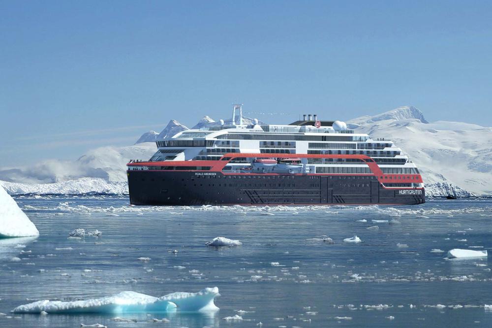 Le Roald Amundsen lancé par la compagnie norvégienne Hurtigruten, DR