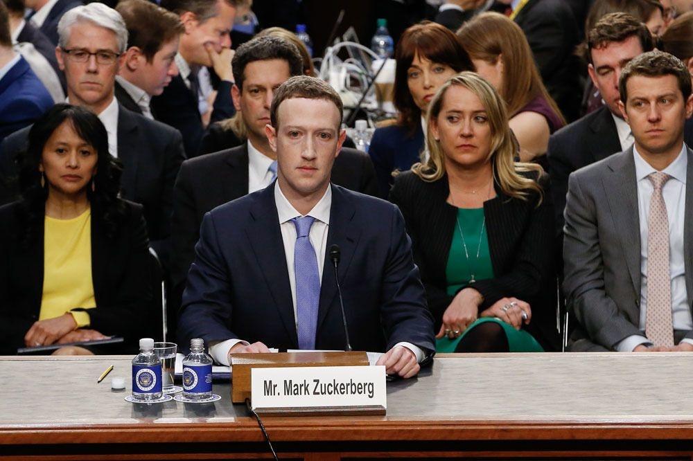 Mark Zuckerberg getuigt voor de Amerikaanse Senaat op 10 april 2018 naar aanleiding van het Cambridge Analytica schandaal., AFP
