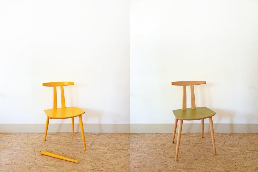 Restauratie van een stoel - voor/na, na