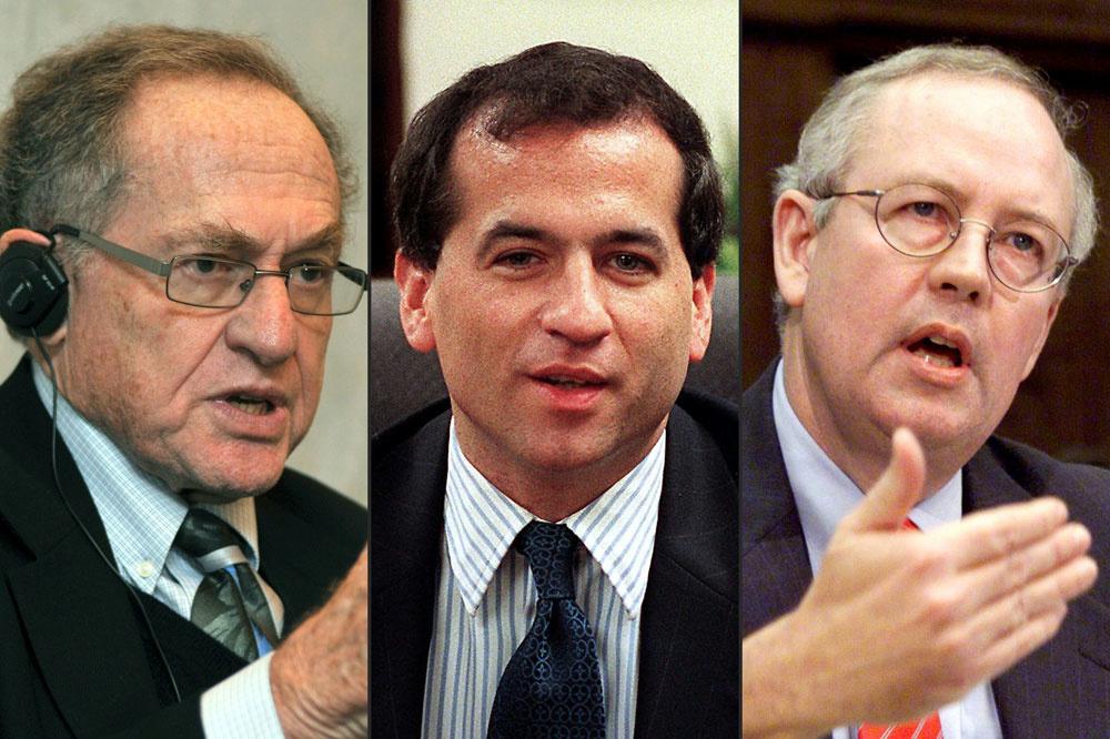 Alan Dershowitz,Robert Ray, Kenneth Starr, AFP