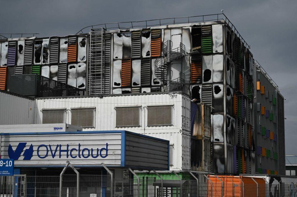 Het datacenter van OVH na de brand begin maart., Getty Images