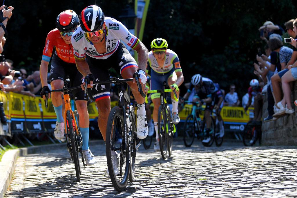 Peter Sagan aime normalement les montées pavées. Ici dans le Mur de Grammont lors du récent Tour du Bénélux., iStock