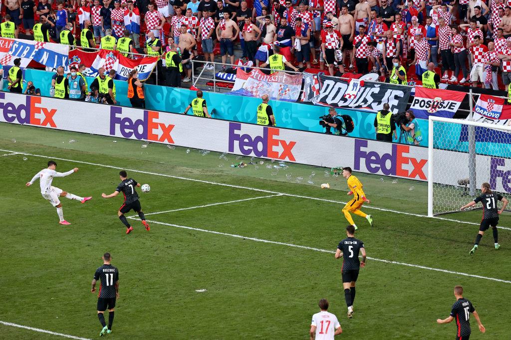 La rage dans le pied gauche de Morata pour évacuer toutes les frustrations et les critiques., iStock