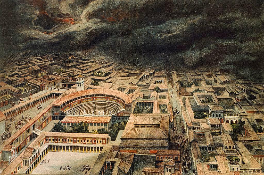 reproduction du site de Pompéi avant l'éruption du Vésuve (79 av. J. -C.), iStock