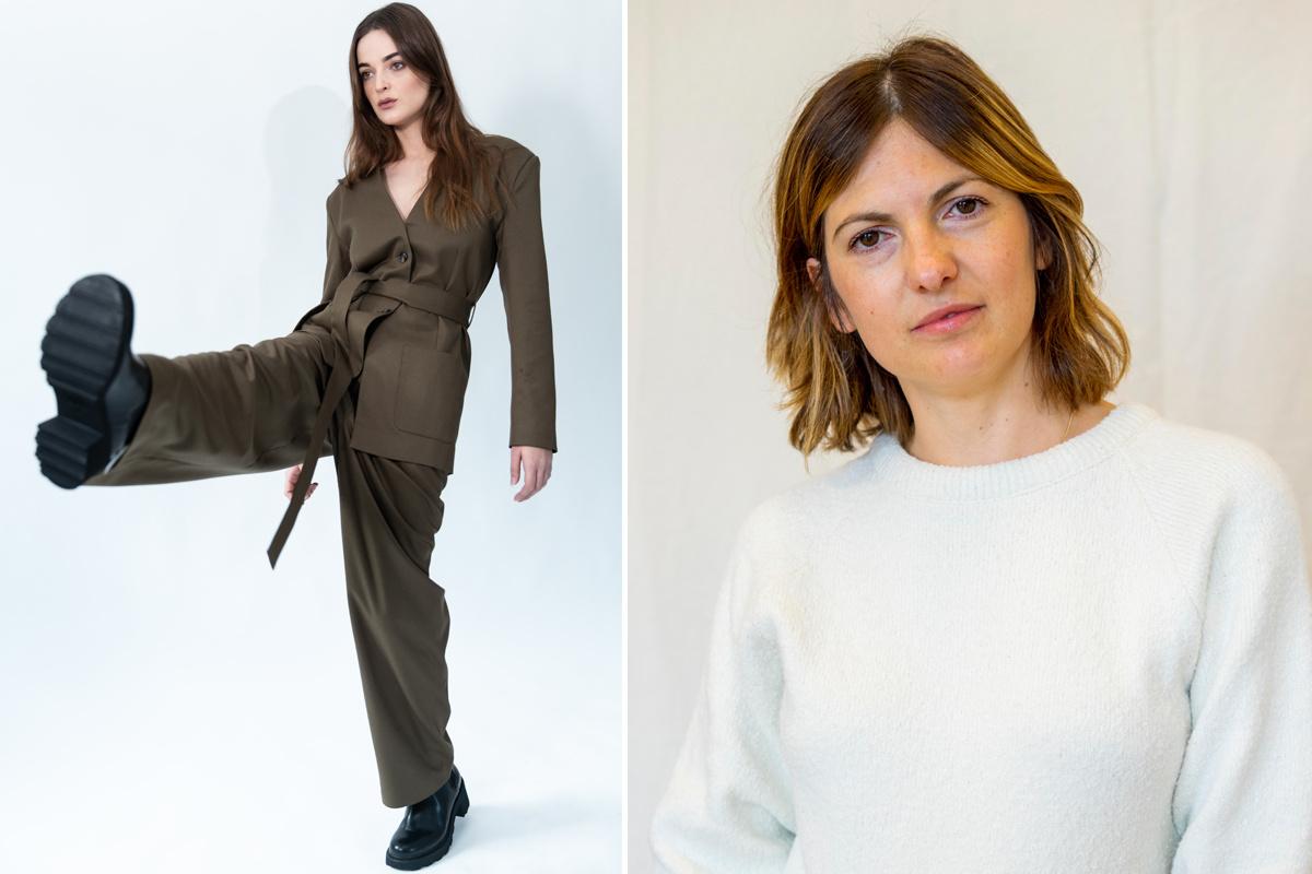 Links: een campagnebeeld van Helder, rechts: ontwerpster Ramona Stoica, byWM