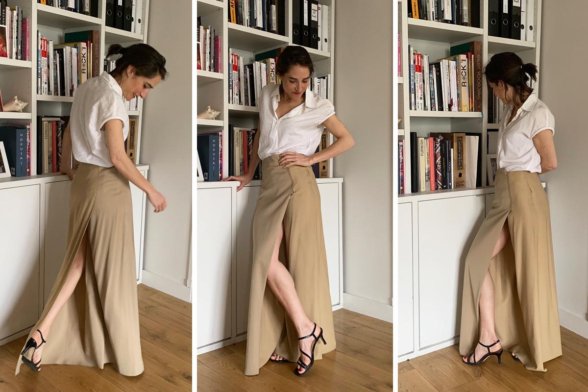 Alexandra houdt van de verrassende snit van haar Maison Martin Margiela-rok, GF