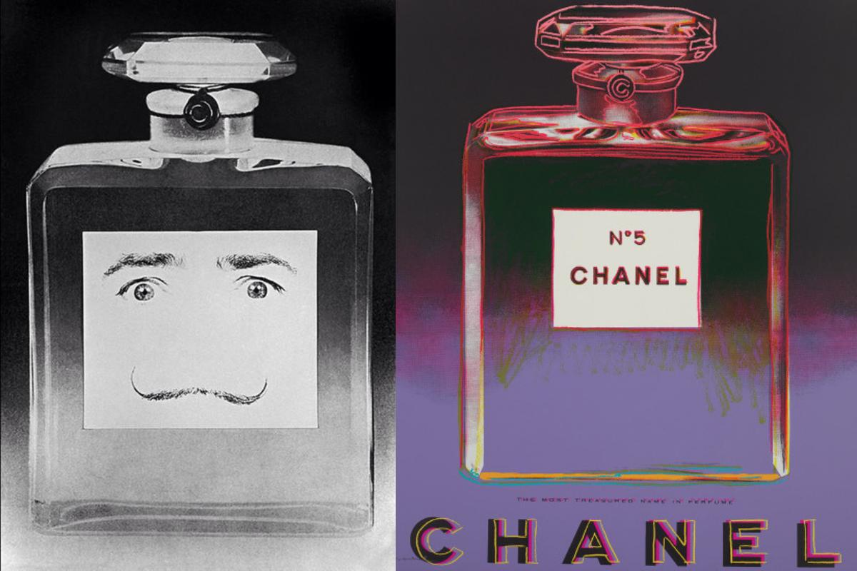 Links: Salvador Dalì lanceerde zijn eigen parfum. het flesje is bijna volledig hetzelfde als dat van Chanel N°5, maar in de plaats van het etiket met Chanel N°5 erop, tekende hij twee ogen en een snor om het zich eigen te maken. Rechts: Andy Warhol maakte een reeks 'Ads' waarbij hij reclamecampagnes namaakte in de stijl van stilleven., Philippe Halsman en Andy Warhol