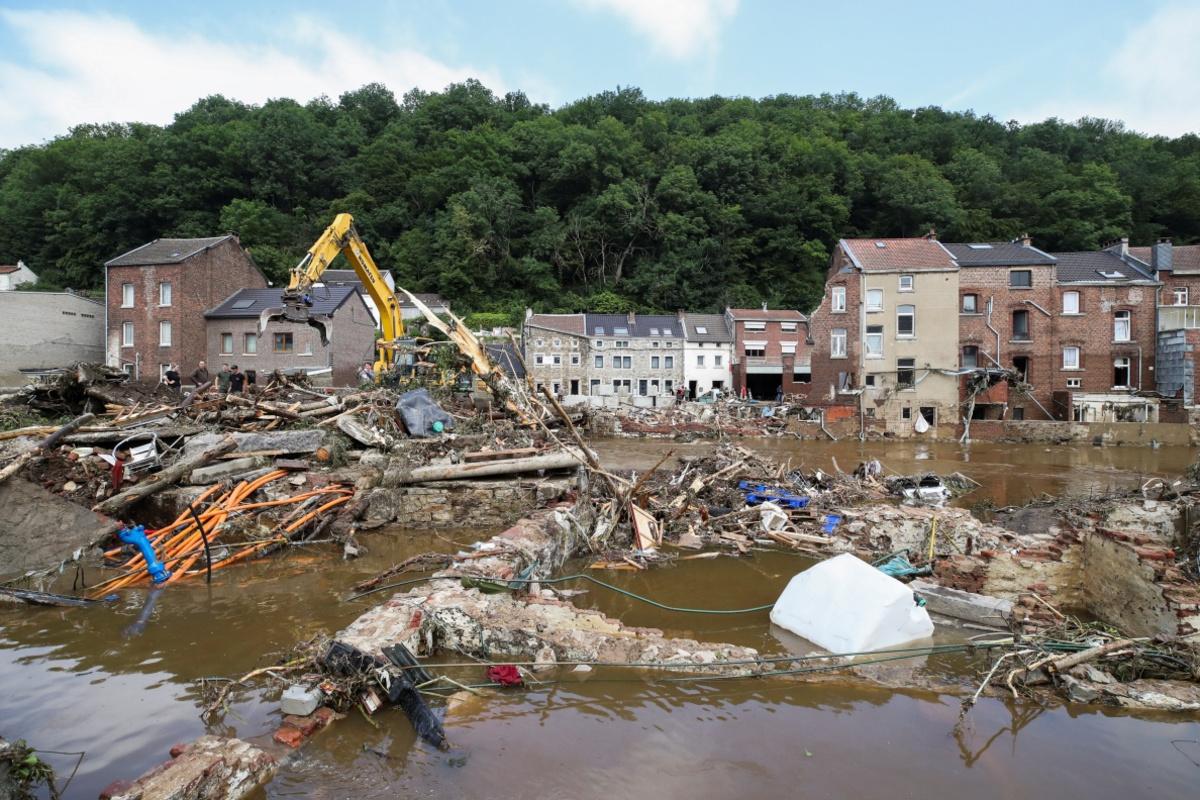 Het Waalse Pepinster is een van de zwaarst getroffen Belgische gemeenten , Reuters
