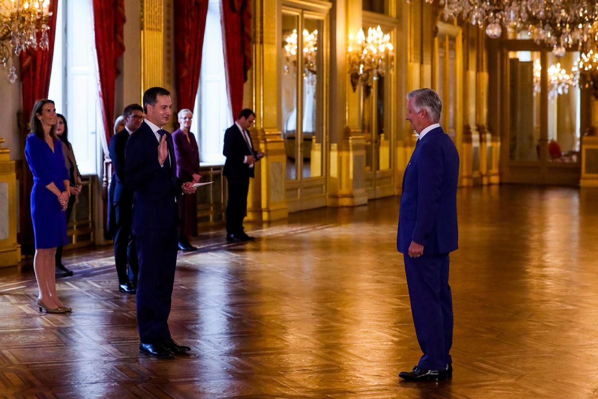 Alexander De Croo en koning Filip op 1/10/2020., belga