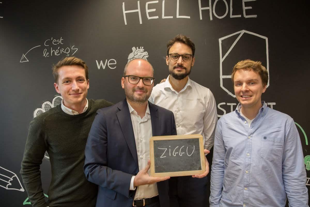 De oprichter van Ziggu, van links naar rechts: Vincent Van Impe, Yannick Bontinckx Pieter Gistelinck en David De Winter, Ziggu