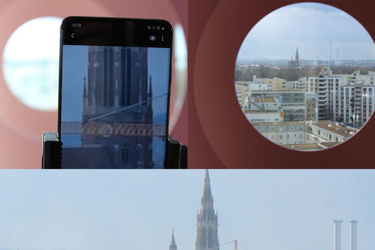 A gauche: une photo de l'écran du S20 Ultra zoomée 100X. A droite: une photo normale prise par un Canon EOS D1300D sans zoom. En bas: une photo comparative avec celle zoomée du Canon EOS D1300D et agrandie à pleine résolution. Le clocher se trouve à environ 3 kilomètres de distance de l'endroit où la photo a été prise., PVL