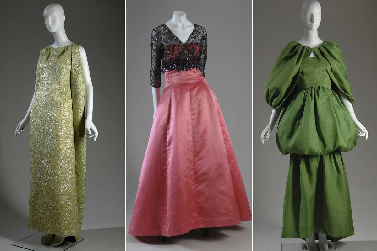 Ontwerpen van Cristobal Balenciaga uit 1966, 1955 en 1961, Getty