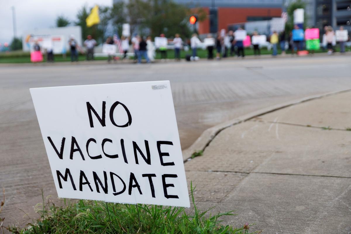 Betoging tegen vaccinatieplicht in de Amerikaanse staat Ohio, 9 september , Reuters