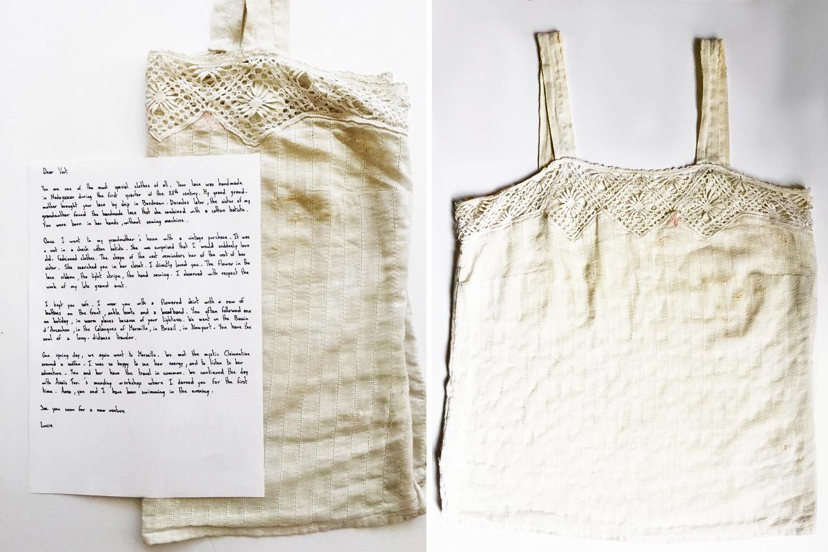 Het topje van Lucie Chaptal, de oprichter van 'Letter To My Clothes', GF