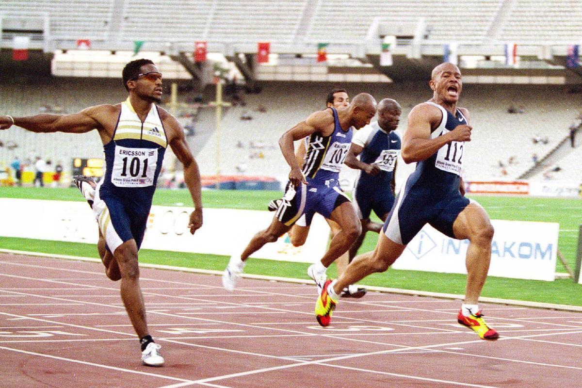 Maurice Greene zet het wereldrecord op de 100 meter scherper in Athene., BELGAIMAGE