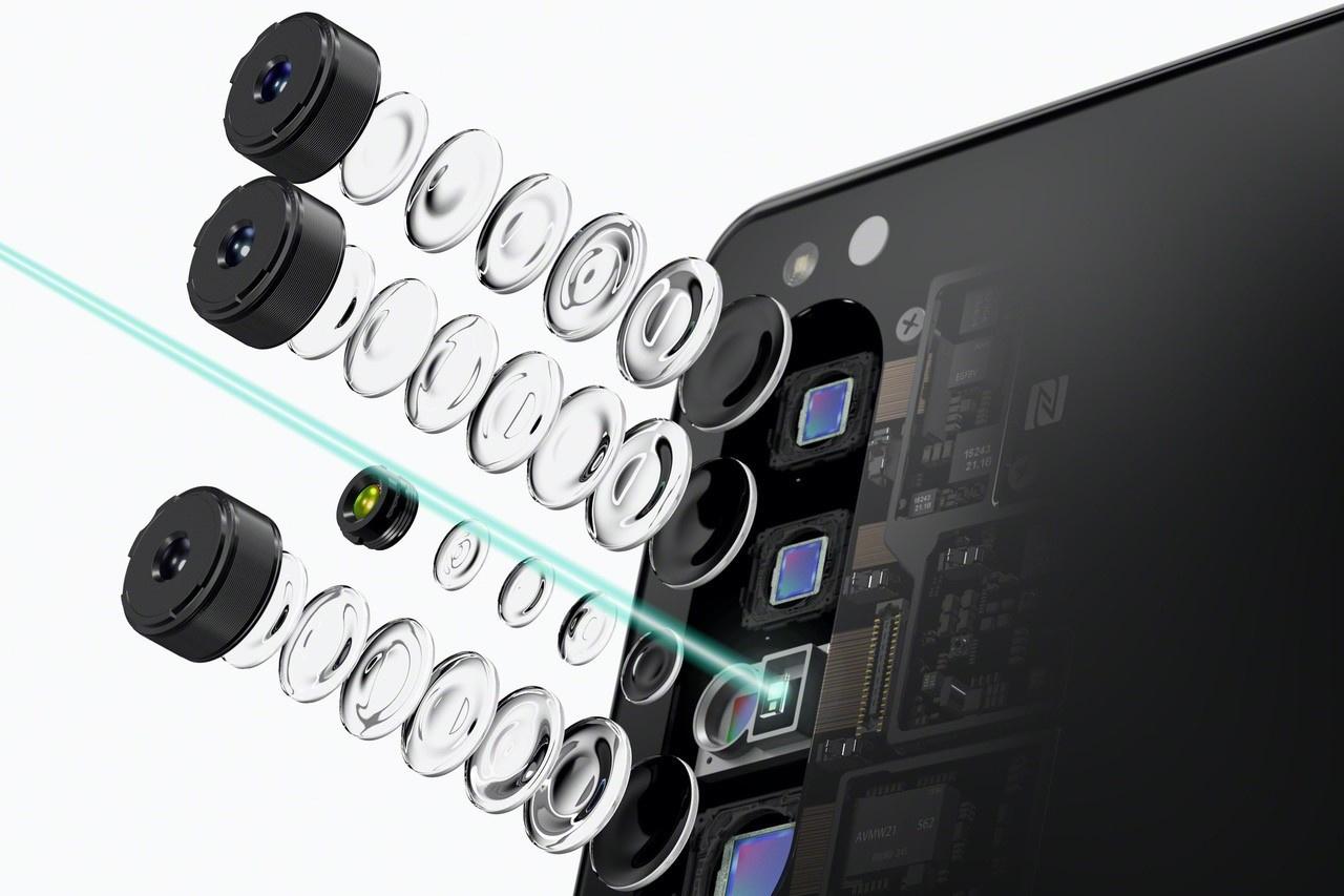 Le bloc optique du Sony Xperia 1 II se compose de trois objectifs 'classiques' et d'un capteur Time of Flight, capable aussi d'enregistrer la profondeur., Sony