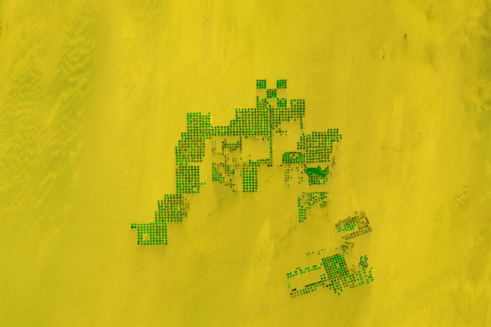 Irrigatievelden in Egypte, gefotografeerd door PROBA-V in oktober 2018 en vervolgens verwerkt door VITO., ESA/BELSPO/VITO