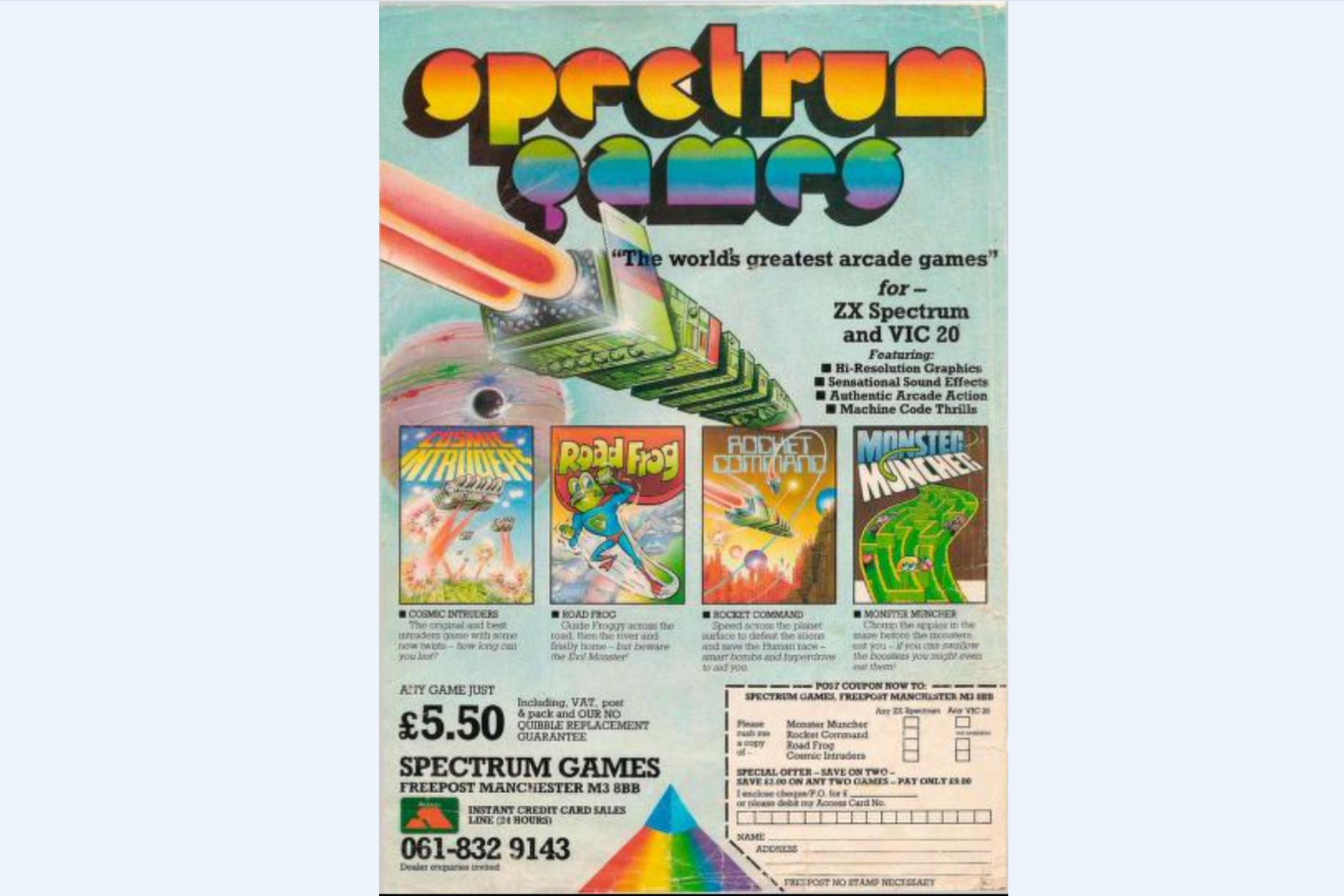 Eerste advertentie van Ocean Software, dat tijdens zijn eerste maanden nog Spectrum Games heette. De games die door niemand werden aangekruist in het uitknipbare bestelformulier, werden ook gewoon niet gemaakt., RMe