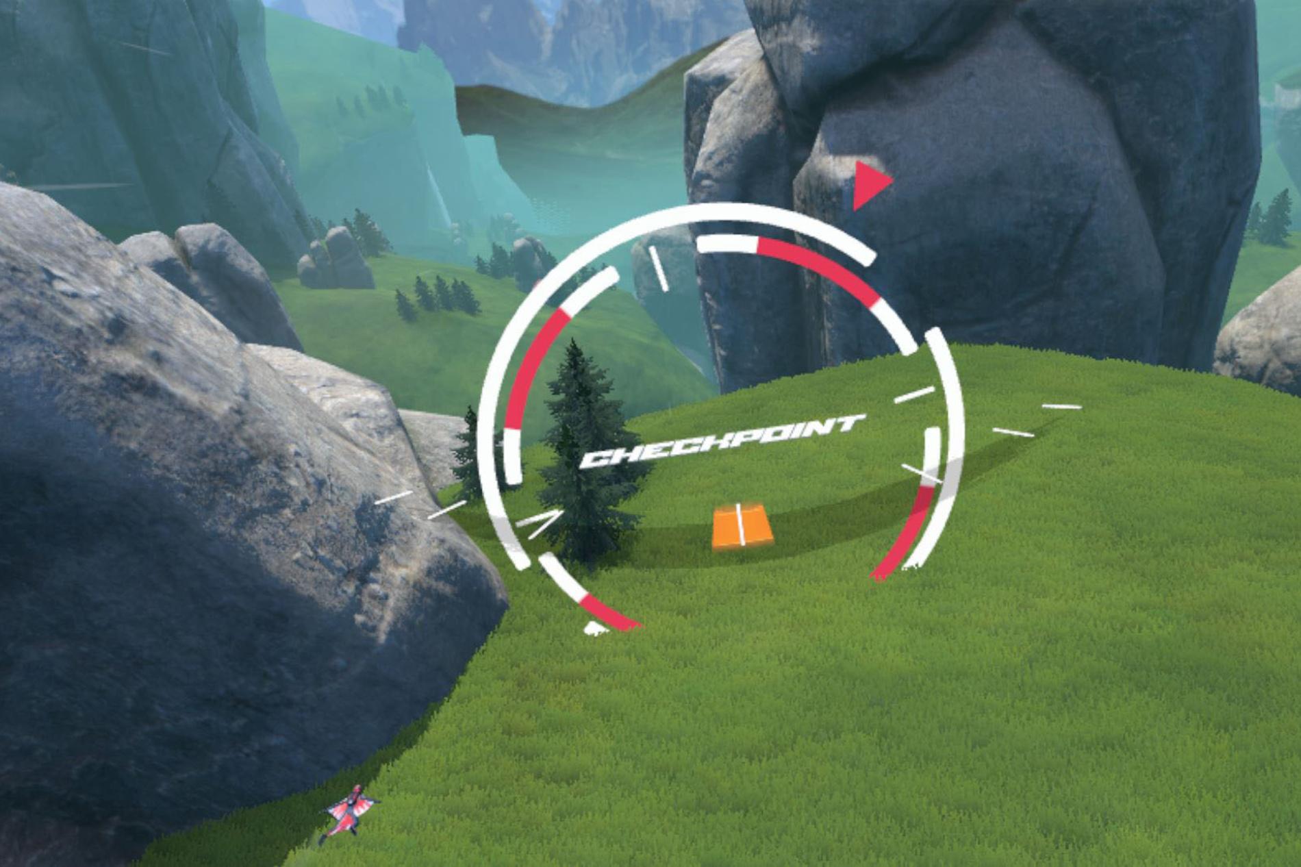 Een screenshot uit het spel Rush VR waar je al skydivend langs obstakels scheert., PVL
