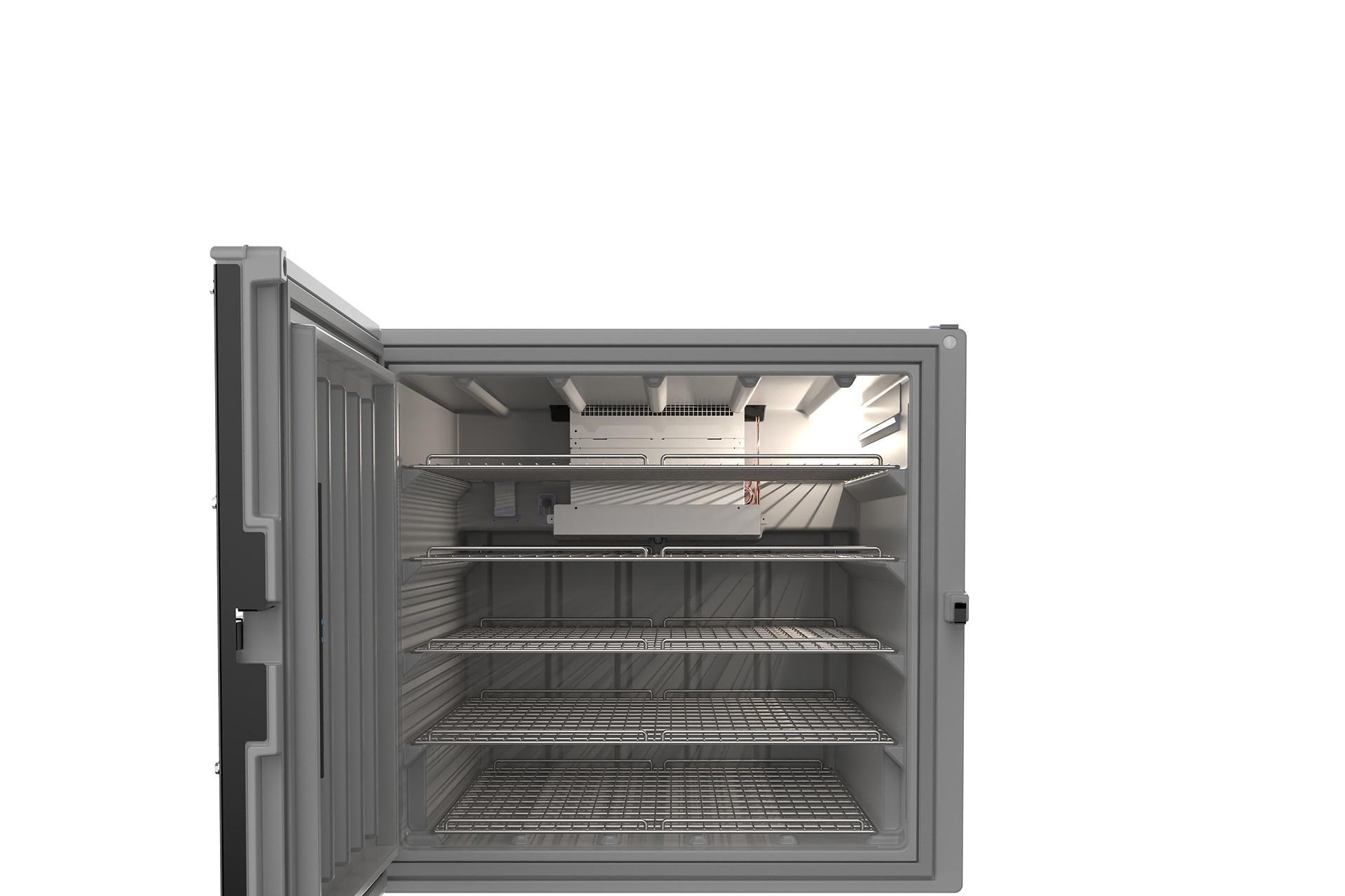 400 doses de vaccins peuvent être stockées et réfrigérées dans ce frigo spécial., GF
