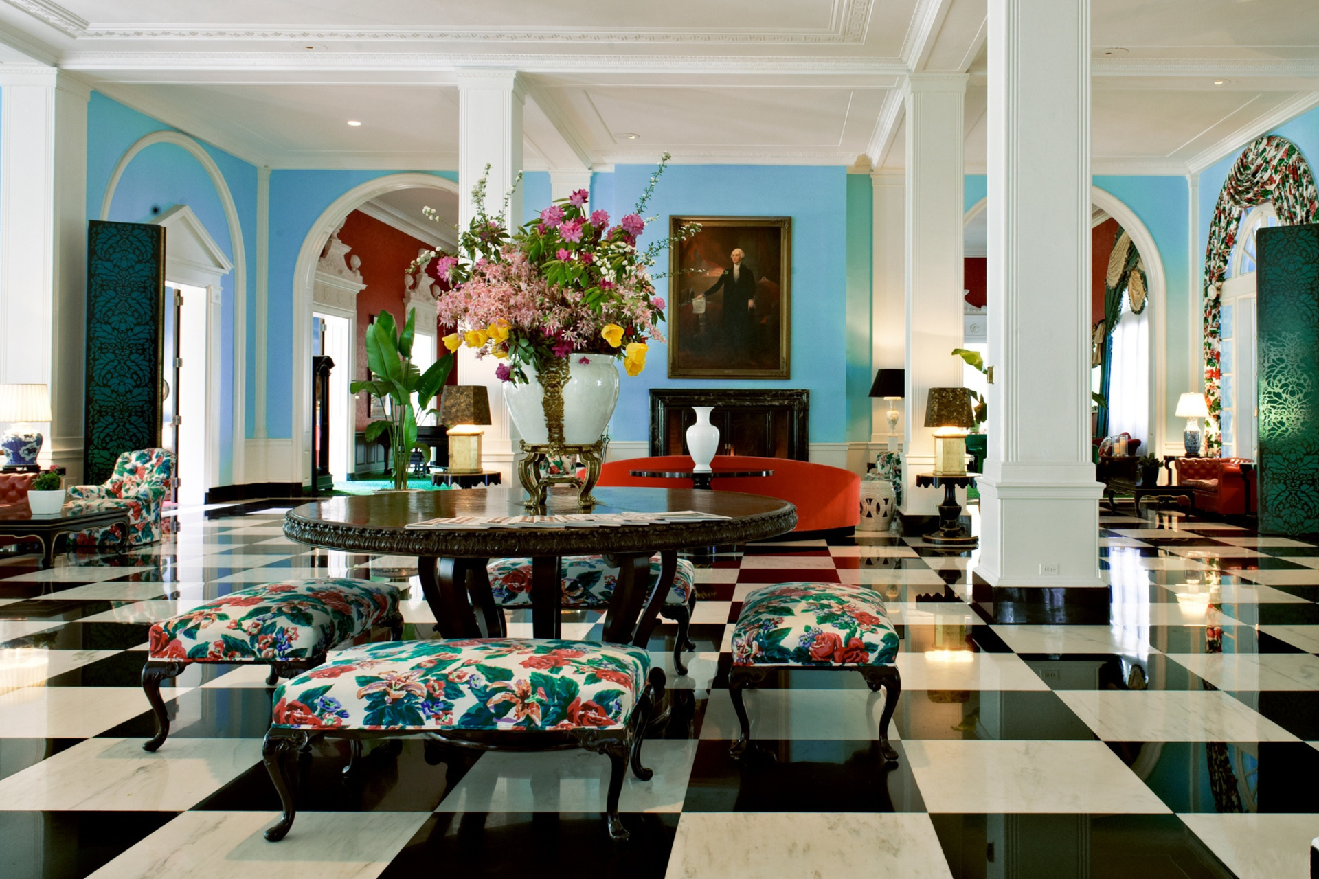 Lobby in The Greenbrier, Michael Arnaud / Courtesy of Dorothy Draper & Company, inc.