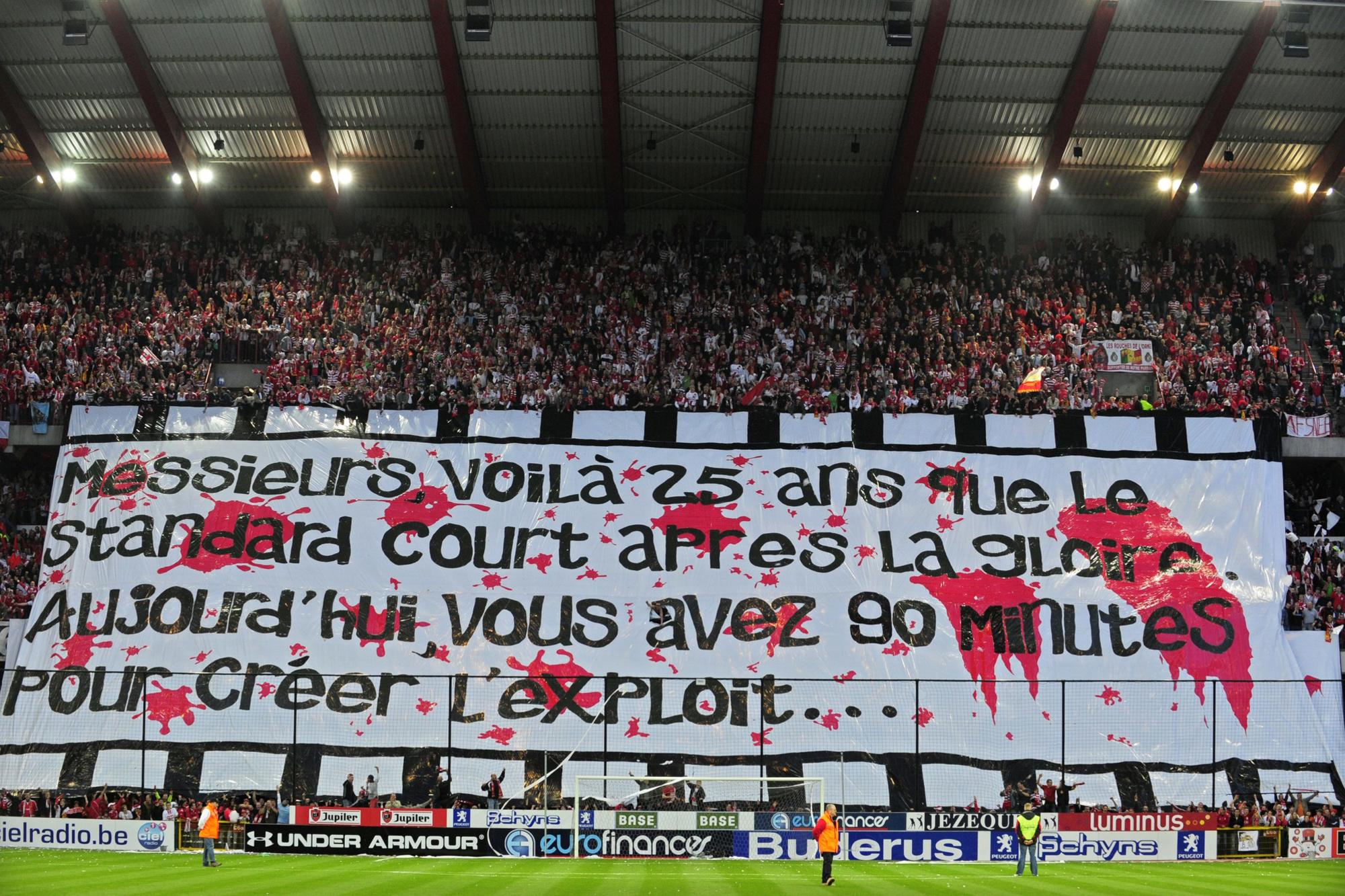"""""""Messieurs, voilà 25 ans que le Standard court apres la gloire. Aujourd'hui, vous avez 90 minutes pour créer l'exploit..."""", belga"""