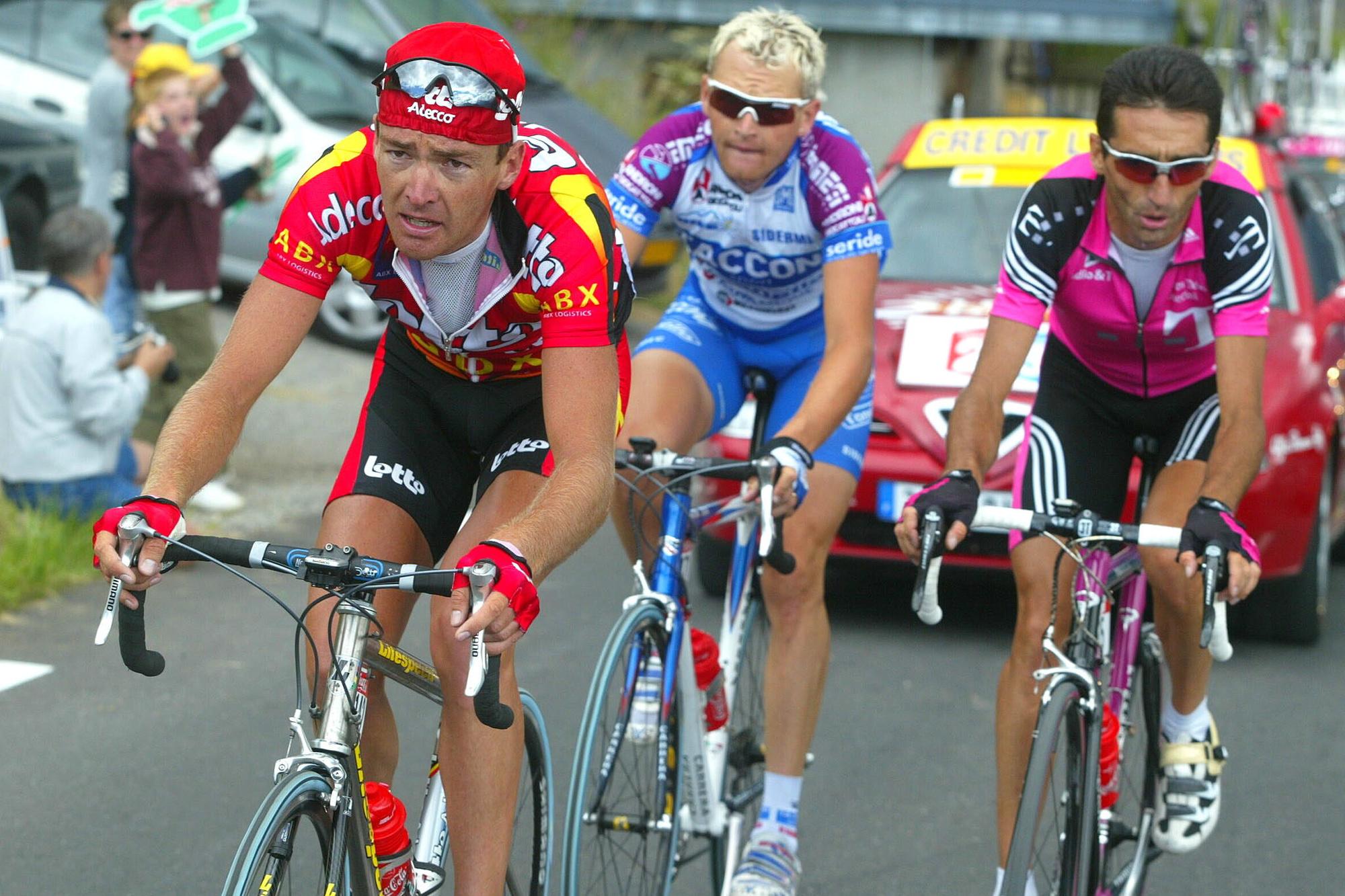 Mario Aerts avec Dario Frigo et Giuseppe Guerini., belga