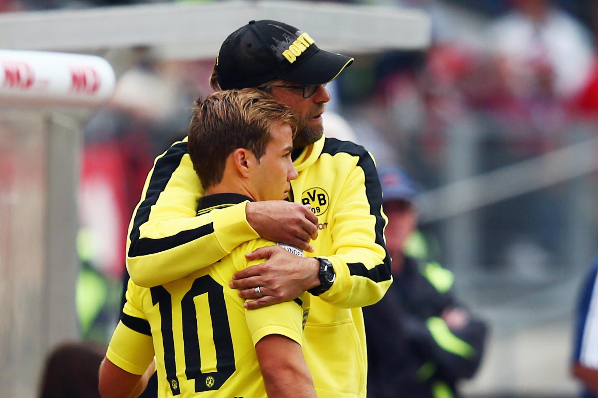 Mario Götze en zijn mentor Jürgen Klopp bij Borussia Dortmund., GETTY