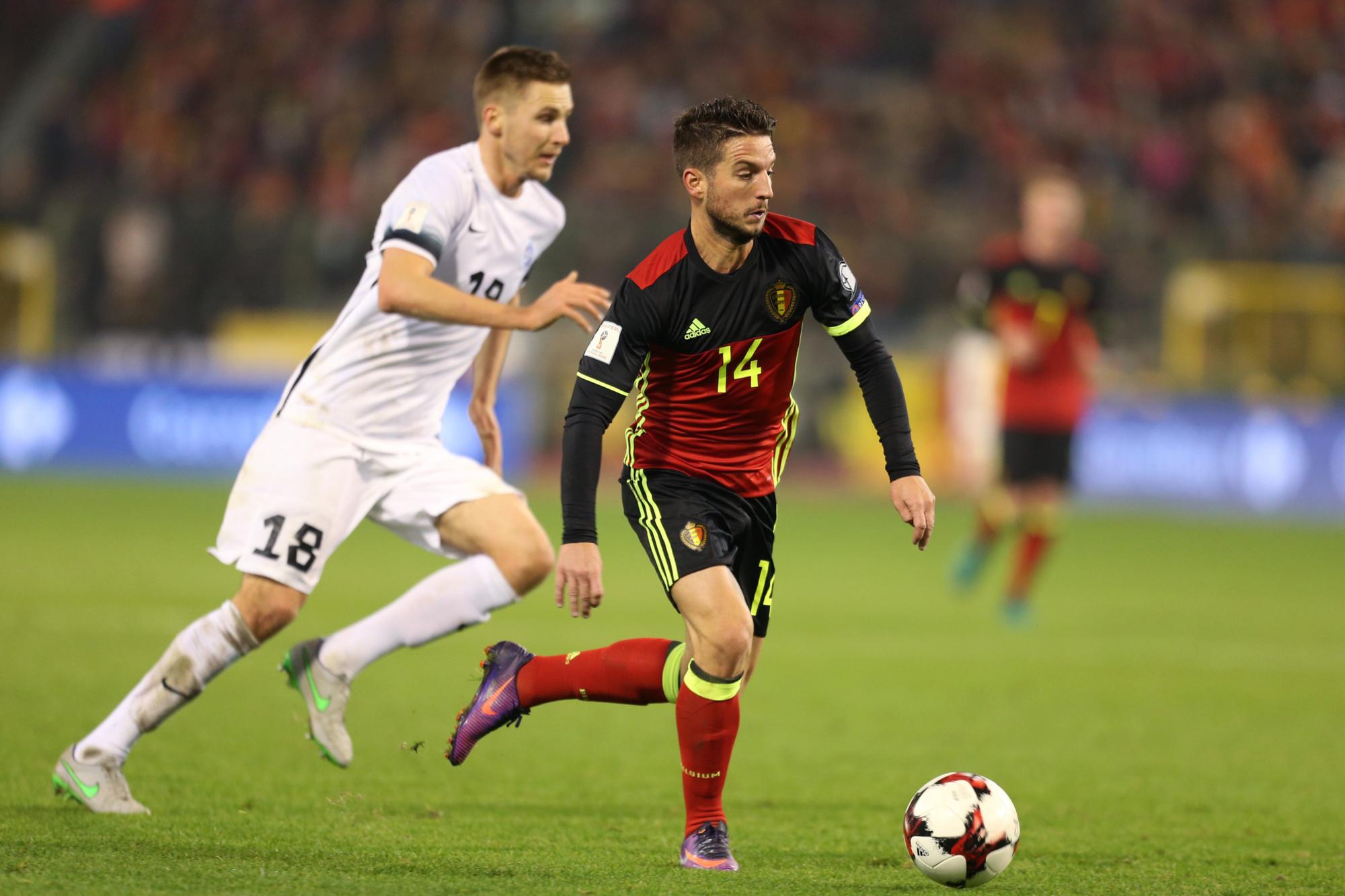 Dries Mertens lors de la victoire des Diables rouges 8-1 contre l'Estonie lors de la campagne pour le Mondial 2018. Cette fois, le lutin de Naples ne sera pas de la partie à Tallinn, belga