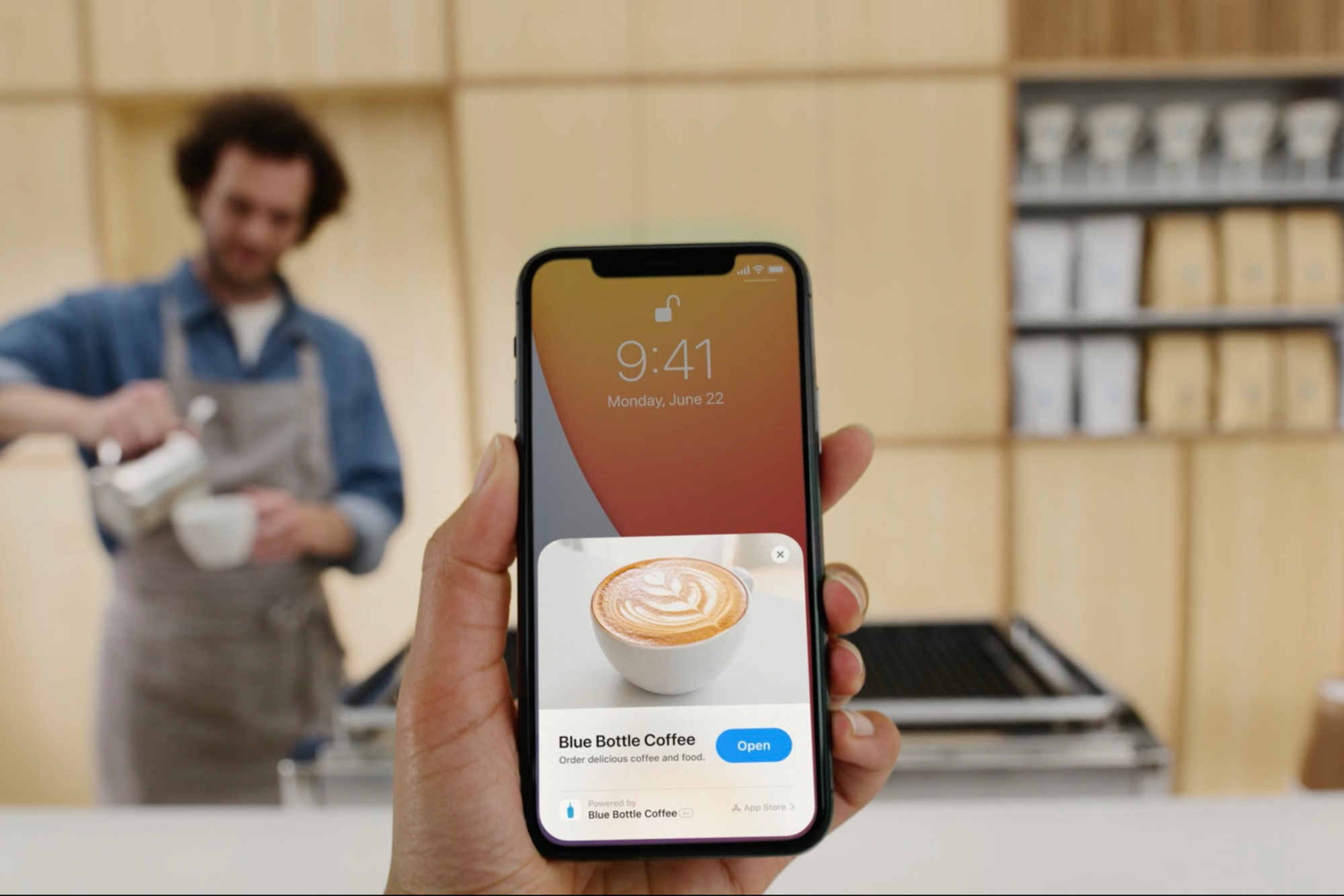 Un exemple d'App Clip, pour régler en un clin d'oeil une tasse de café., Apple