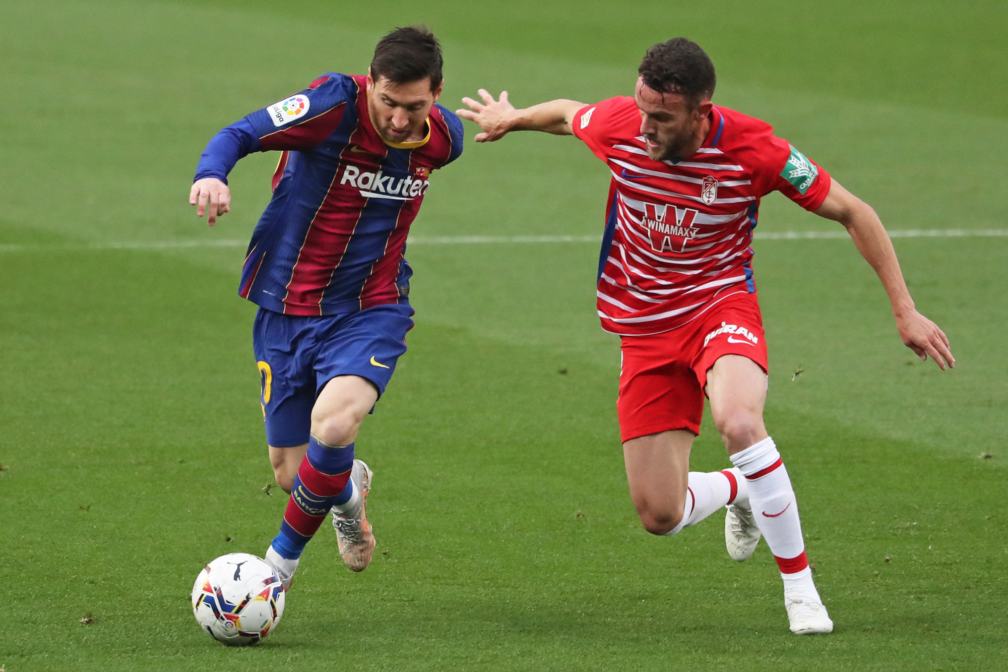 Met Messi in topvorm heeft Barcelona een grote kans op de titel, GETTY