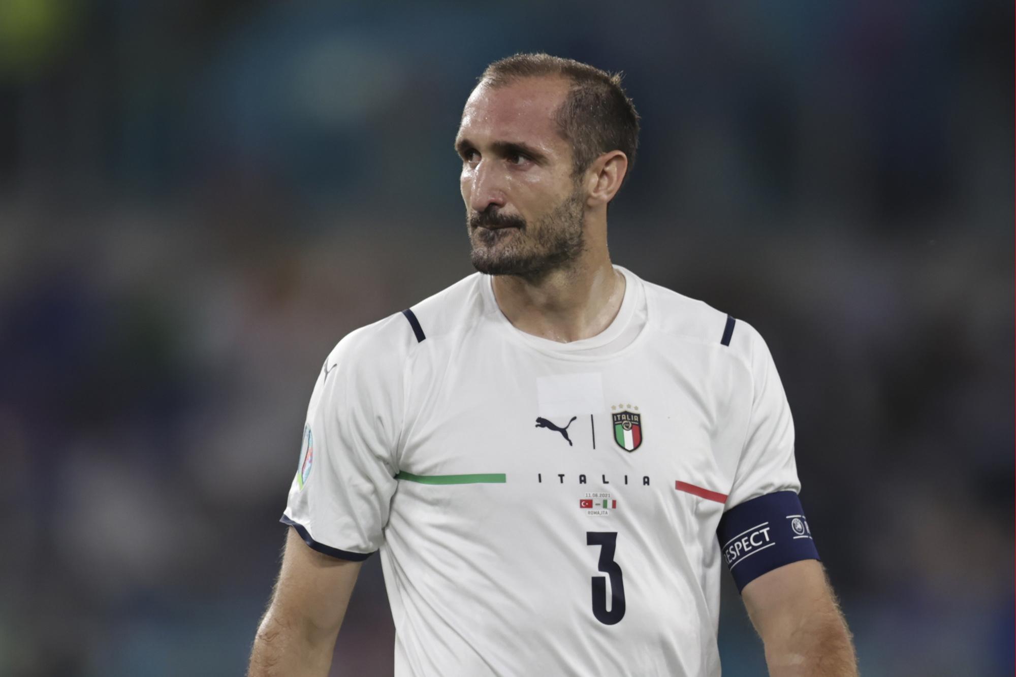 Giorgio Chiellini kan nog op dit EK recordhouder in aantal EURO-wedstrijden worden bij Italië., GETTY