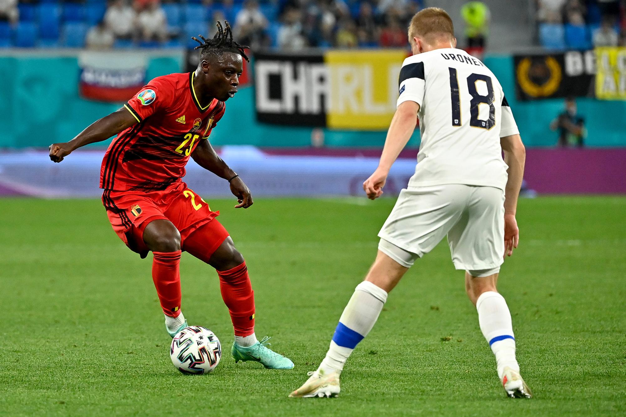 Jérémy Doku, de jongste speler in beide kernen, GETTY