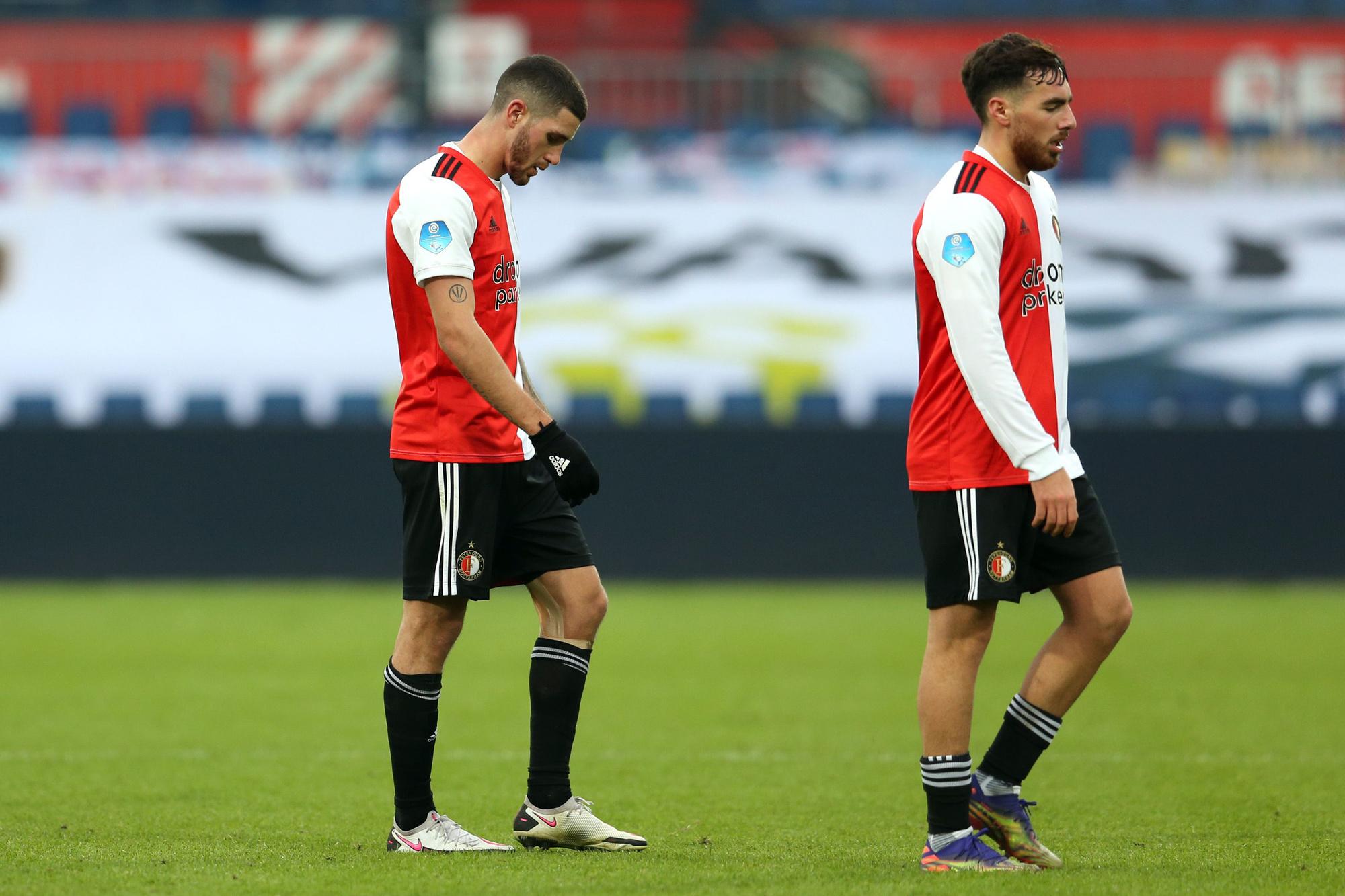 Feyenoord is ontgoocheld na de 1-0-nederlaag tegen Wolfsberger, Belga Image