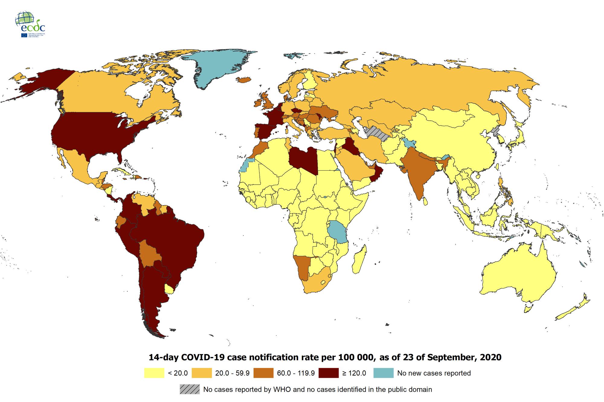 Carte du centre européen de prévention et de contrôle des maladies., D.R.