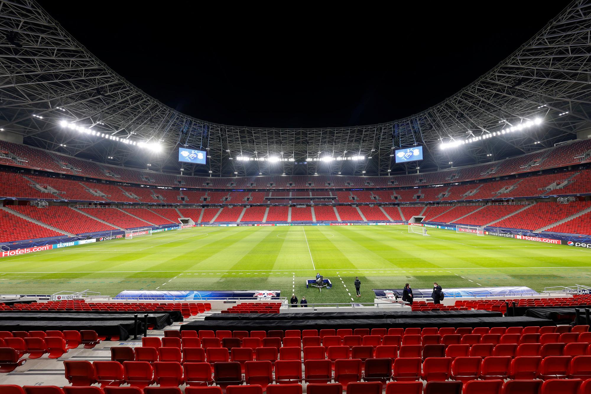 De Puskas Arena in Boedapest is het decor voor de achtste finale tussen Leipzig en Liverpool dinsdagavond, GETTY