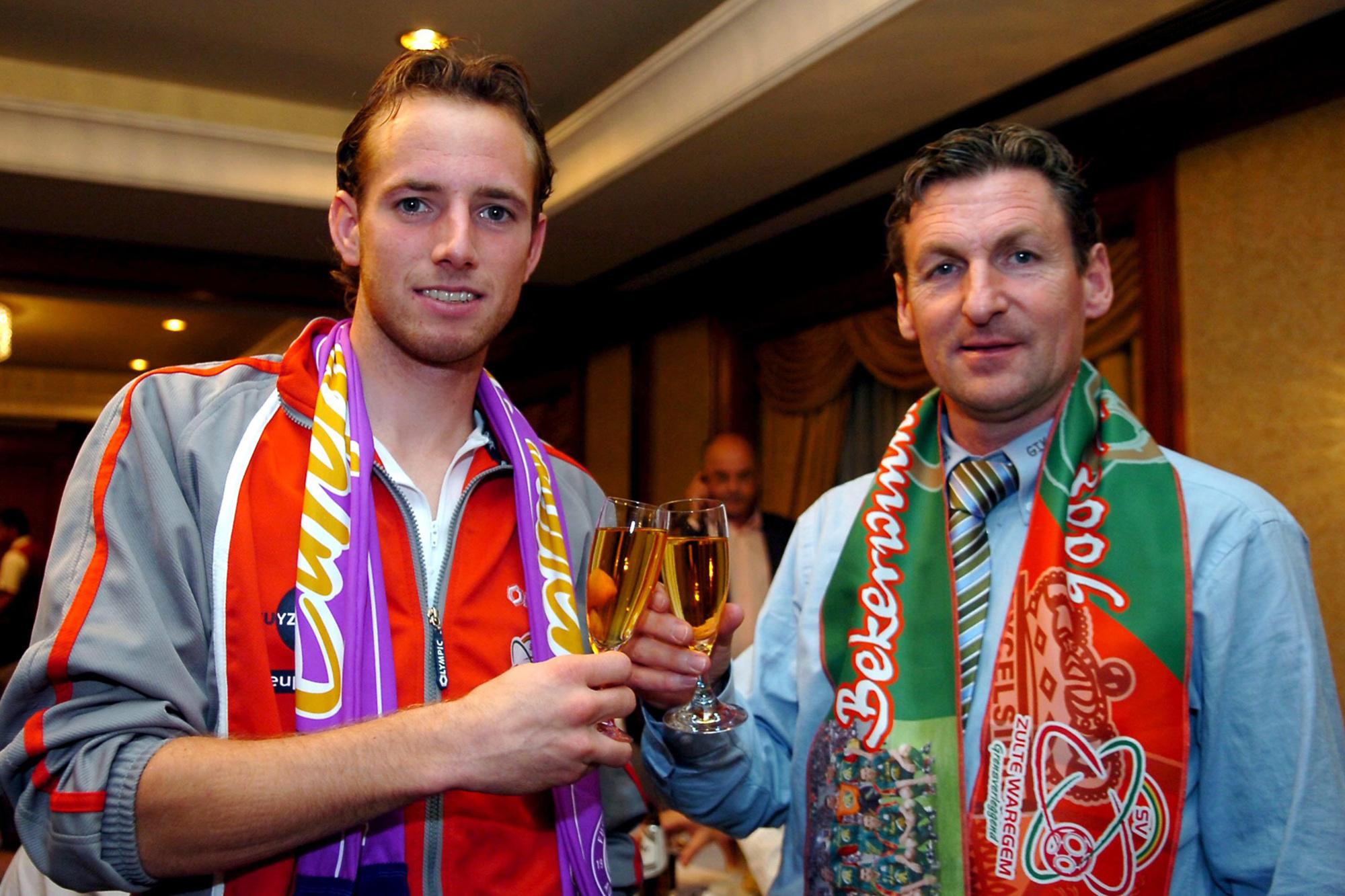 Francky Dury en Tim Matthys (L) na de eerste bekercampagne., Belga Image