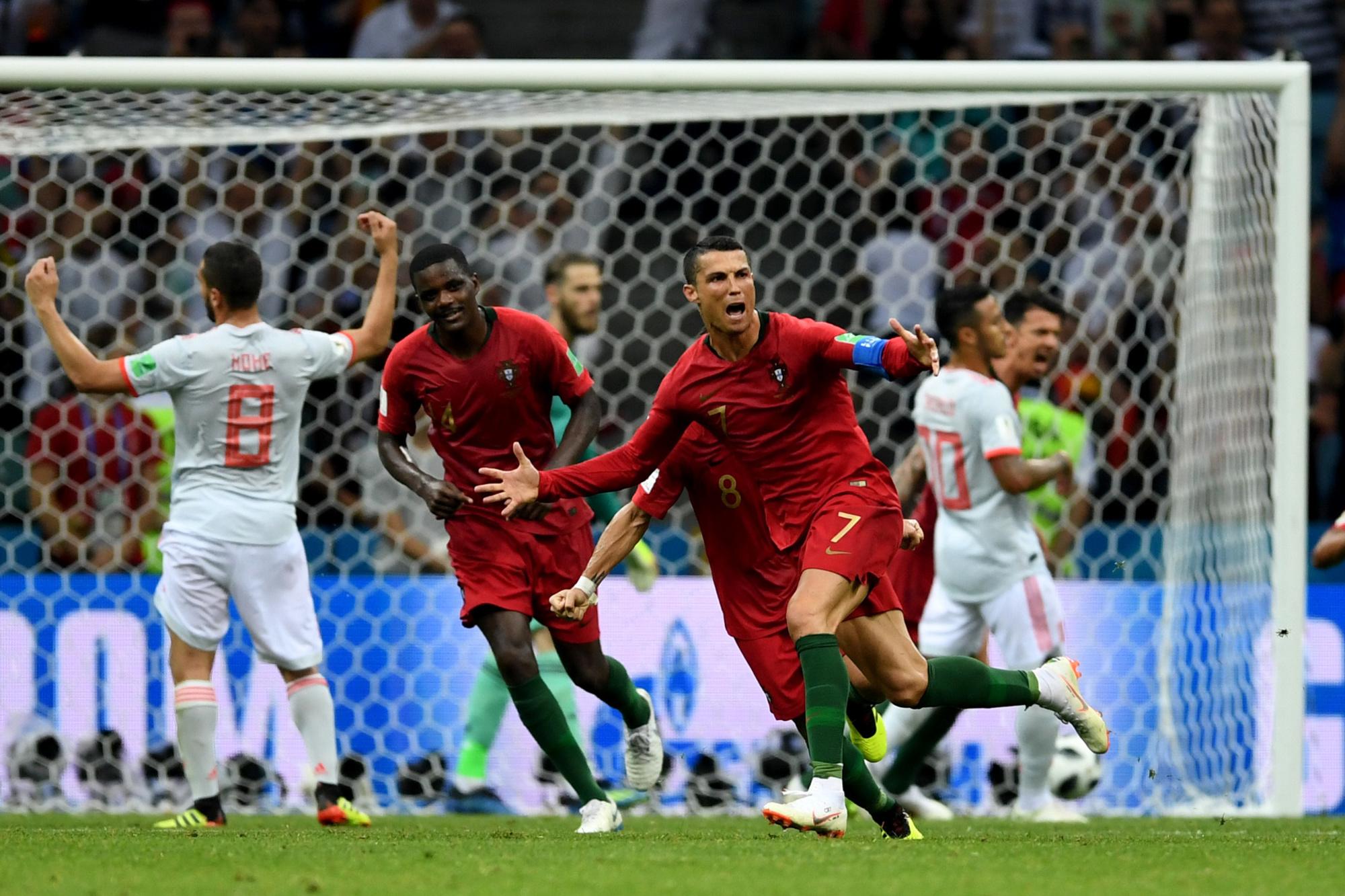 Cristiano Ronaldo, triple buteur face à l'Espagne., belga