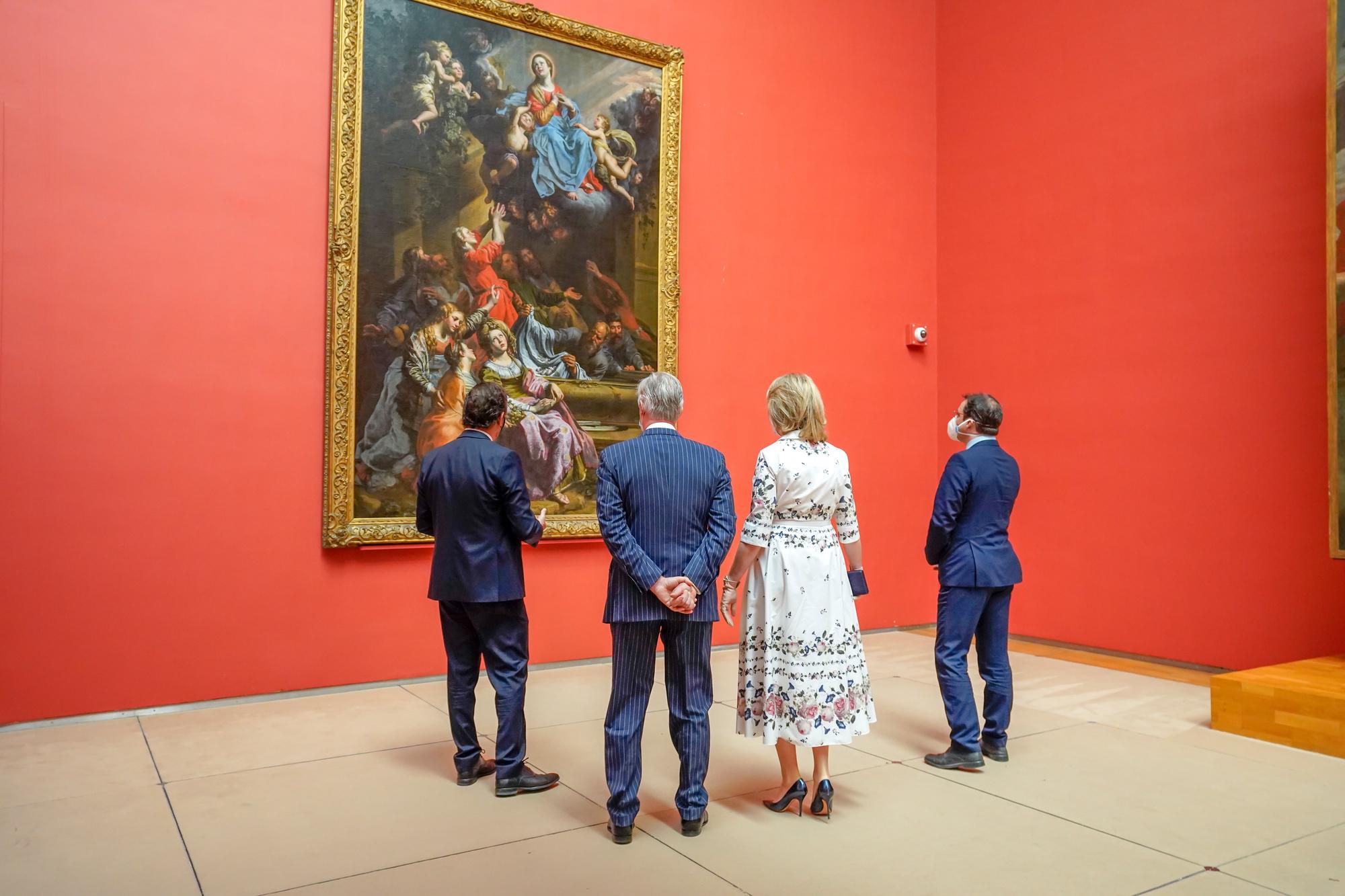 Le Roi Philippe et la Reine Mathilde, en visite royale aux Musées royaux des Beaux-Arts., belga