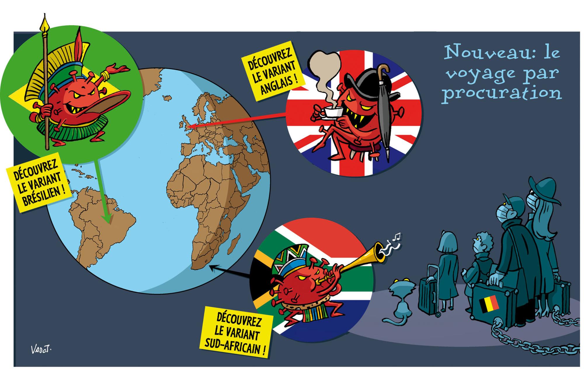 Les différents variants du coronavirus obligent le gouvernement à interdire les voyages non-essentiels à l'étranger., Vadot