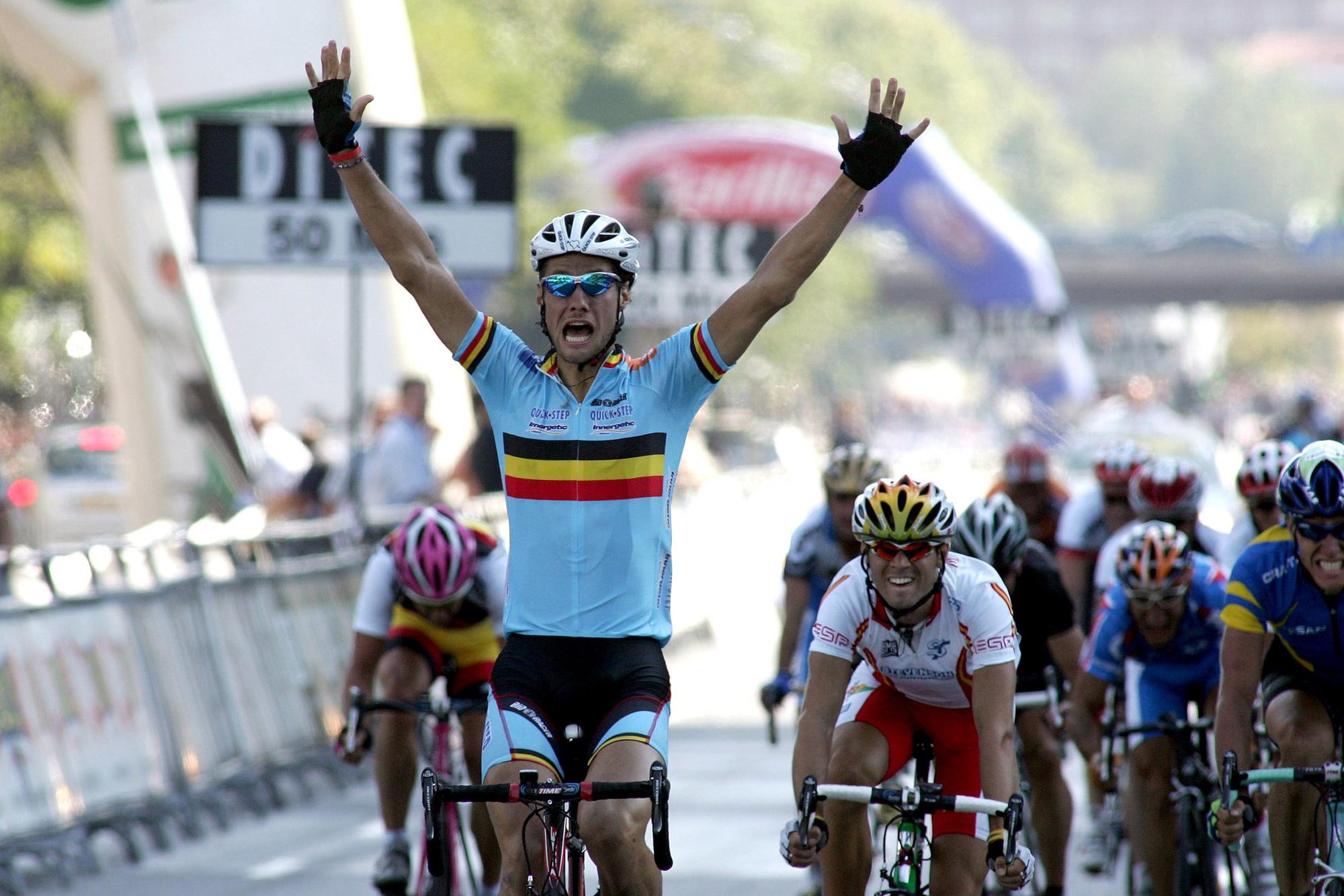 Het hoogtepunt van Boonens carrière: de wereldtitel in 2005 in Madrid, Belga Image