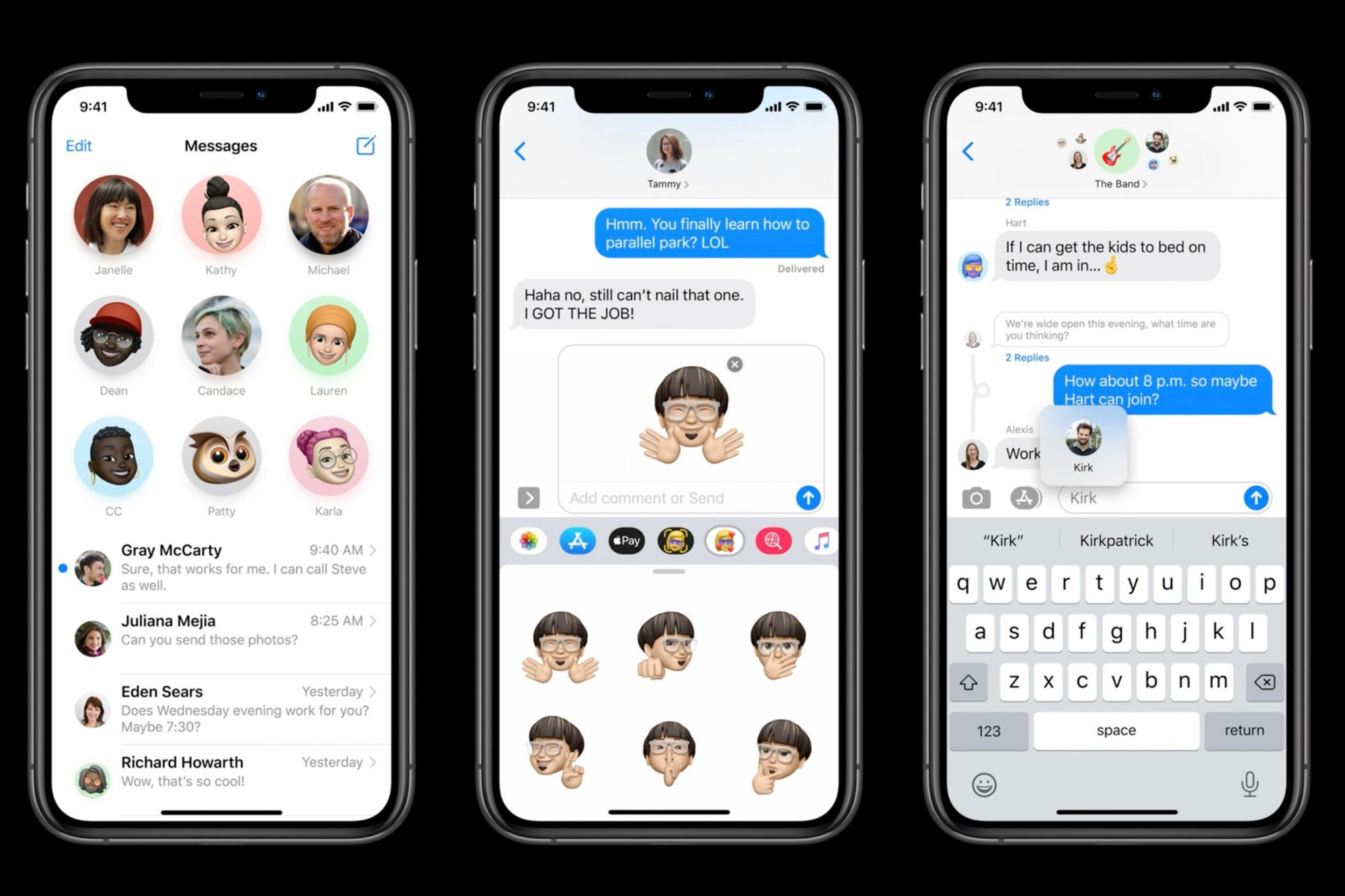 L'appli Messages améliorée rend les sous-groupes nettement plus synoptiques et s'accompagne de nouveaux émoticons., Apple