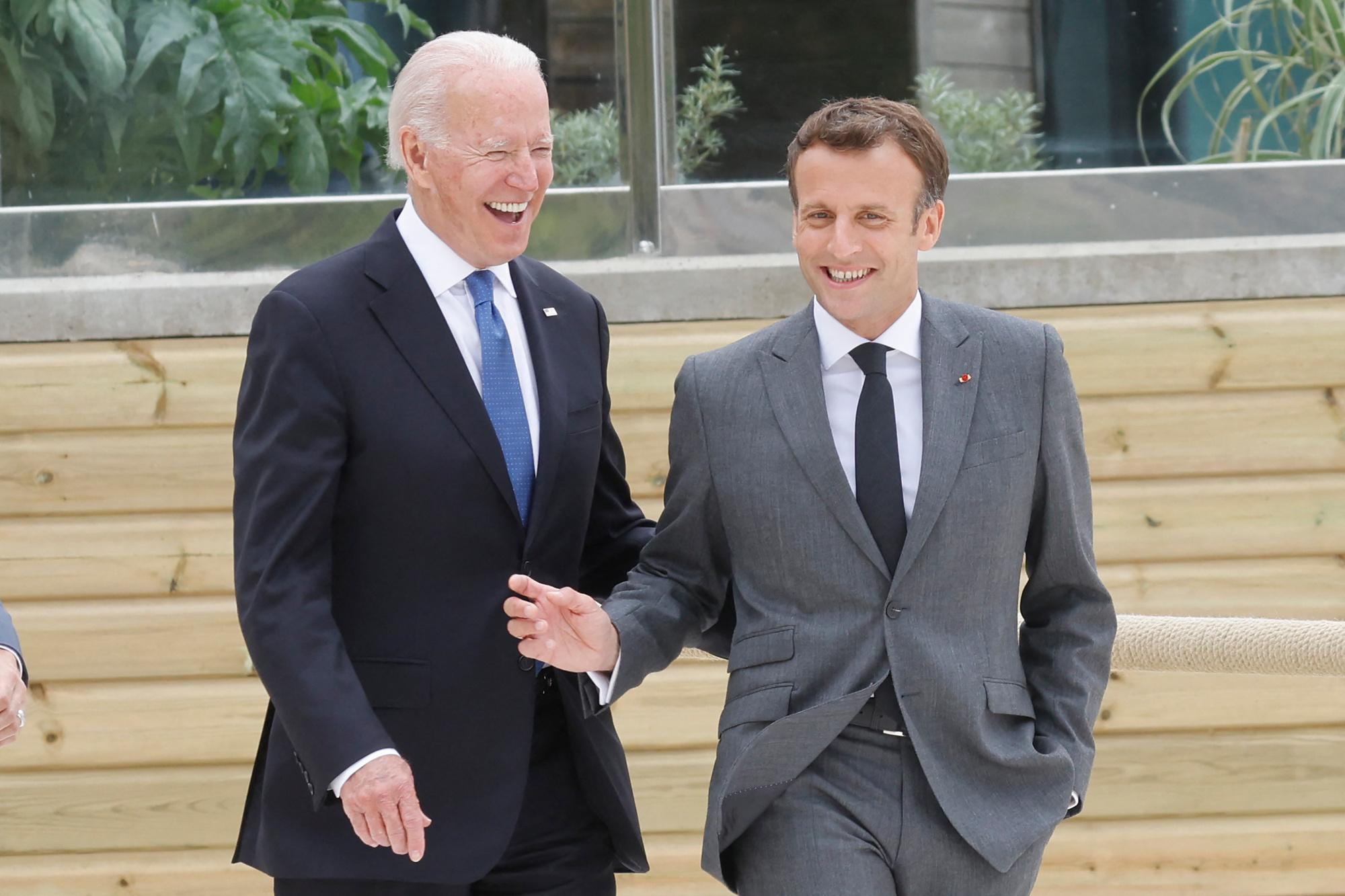 Joe Biden et Emmanuel Macron au G7, BELGAIMAGE
