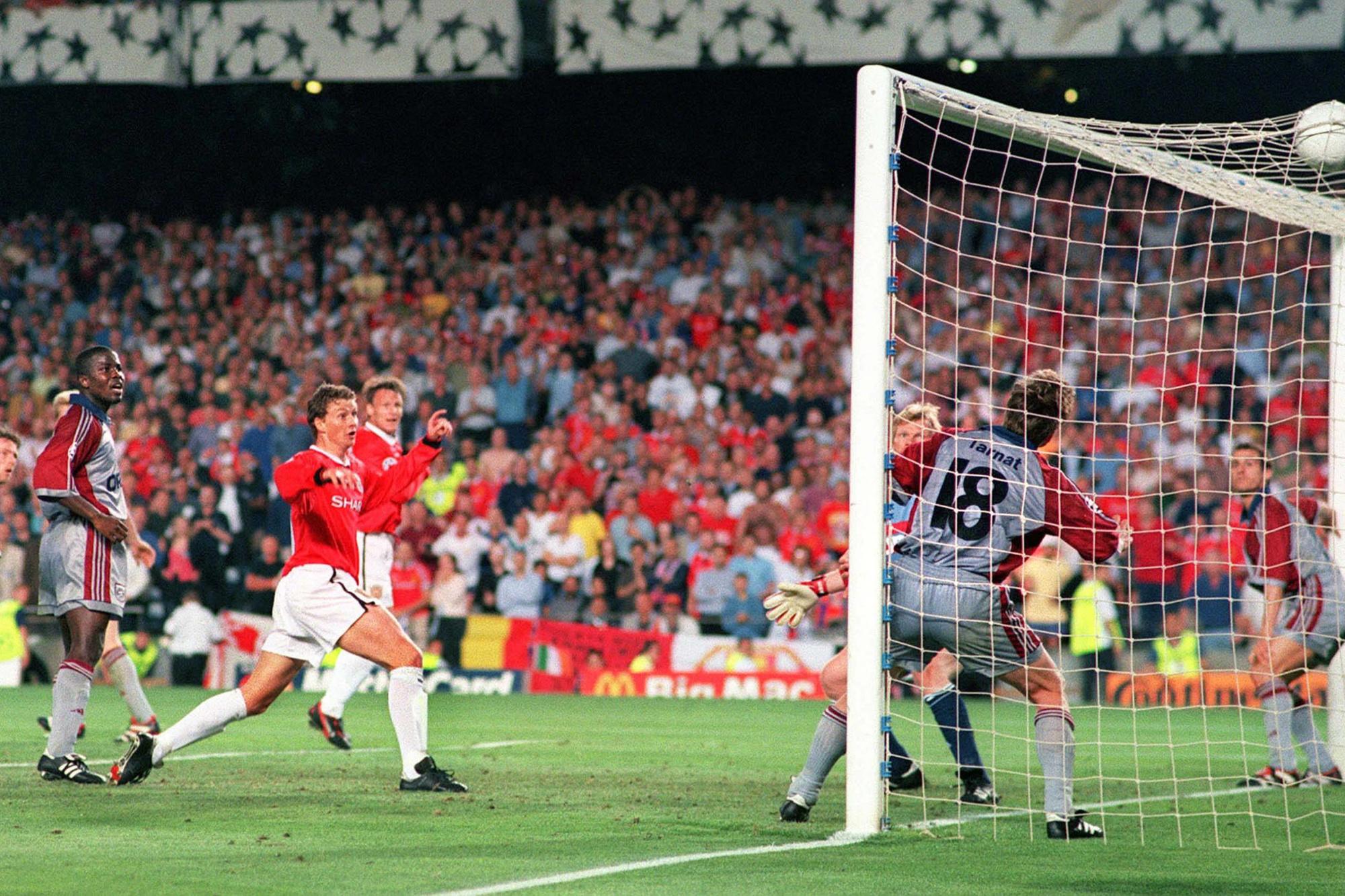 Ole Gunnar Solskjaer inscrit le but de la victoire face au Bayern en finale de la Champions League 1999., belga