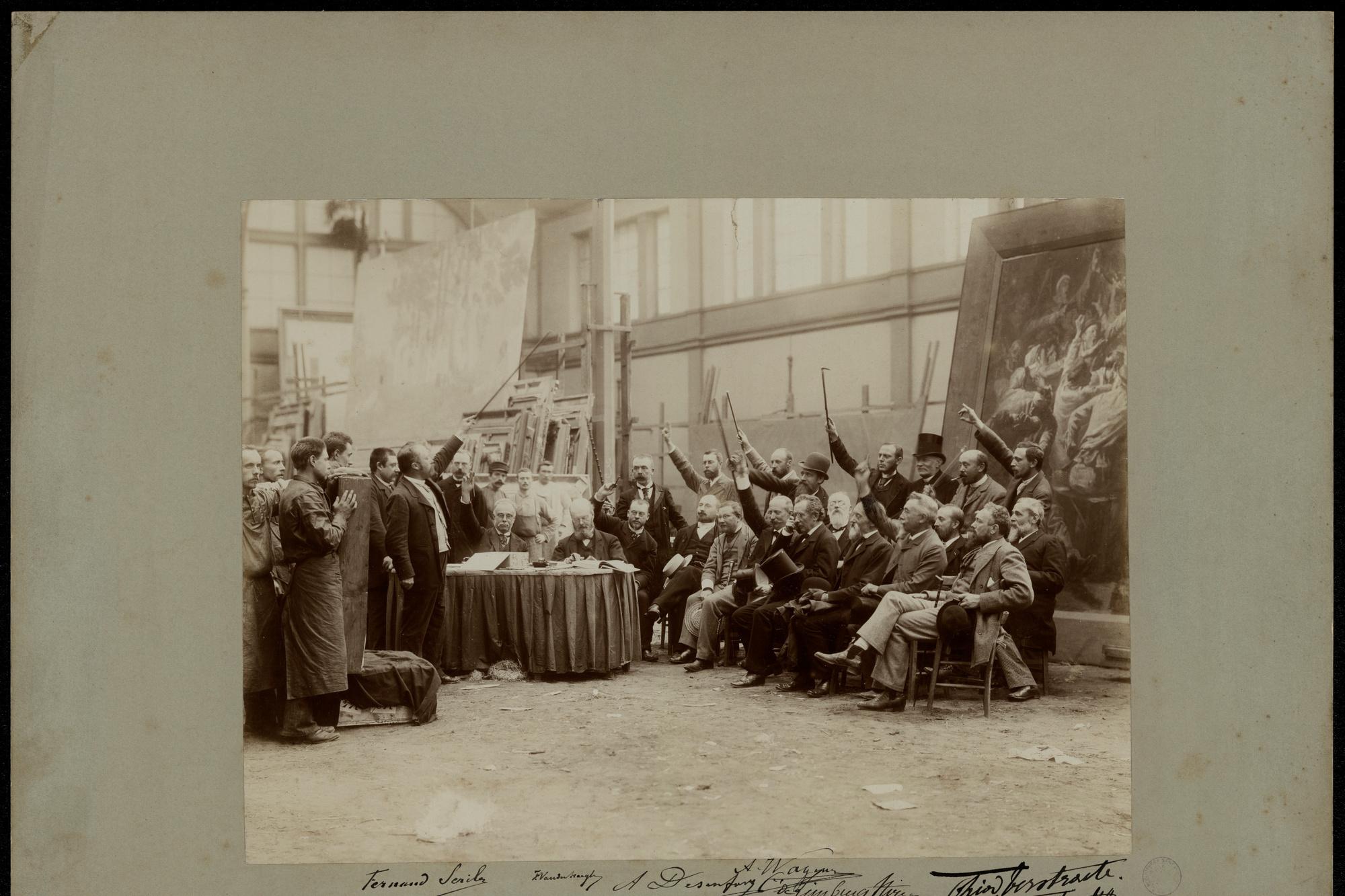 Fernand Scribe en Ferdinand Vander Haeghen, Portrait de groupe - De Aanvaardingscommissie van een driejaarlijkes salon, 1892, photographie., Gand, bibliothèque de l'université, inv. BIB.FOT.GF.000201/01